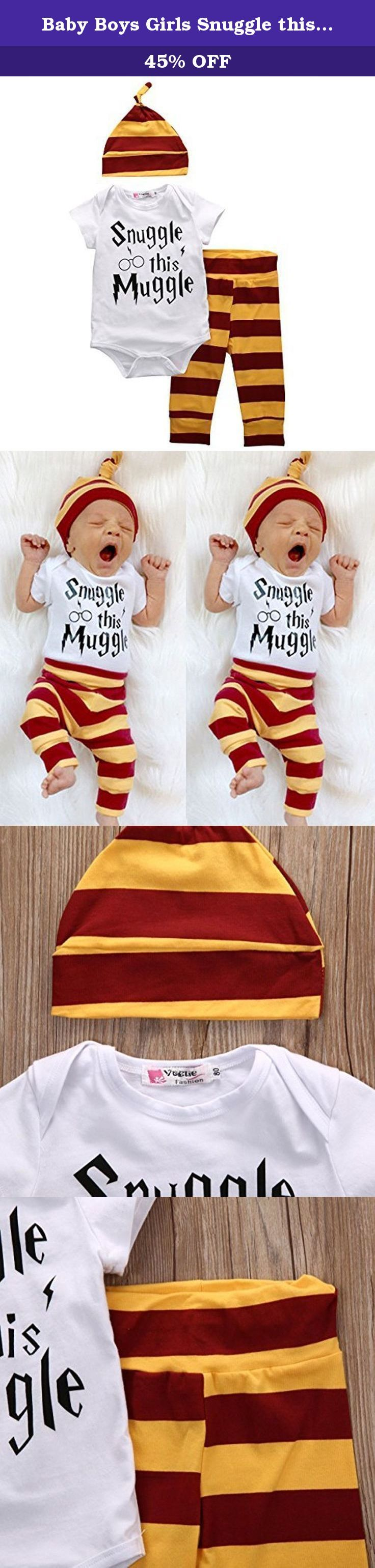 """Baby Boys Girls Snuggle this Muggle Short Sleeve Bodysuit and Pants Outfit with Hat (80 (6-9M), White+Yellow). Size information: 70 (0-6M): Bodysuit length 39cm/15.2"""", Chest 50cm/19.5"""", Pants Length 39cm/15.2"""" 80 (6-9M): Bodysuit length 42cm/16.4"""", Chest 52cm/20.3"""", Pants Length 42cm/16.4"""" 90 (9-12M): Bodysuit length 45cm/17.5"""", Chest 54cm/21.1"""", Pants Length 45cm/17.5"""" 100 (12-18M): Bodysuit length 48cm/18.7"""", Chest 56cm/21.8"""",Pants Length 48cm/18.7"""" Please allow 1-3cm differs due to…"""
