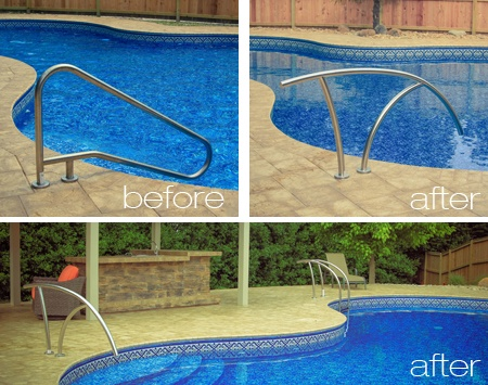 Artisan Series Hand Rail by S.R. Smith before and after. - Wise Pool ...
