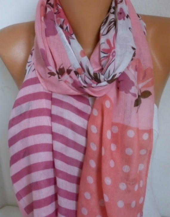 Pink & coral Scarf Summer shawl Scarf Gift Ideas For Her Women