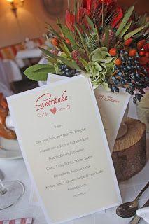 Menükarten zur Hochzeit von der Kartenmacherei, Hochzeitspapiterie