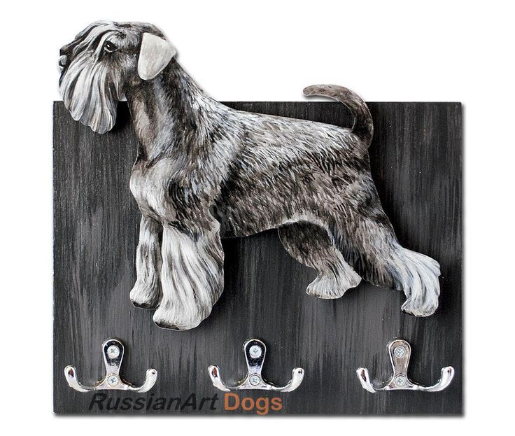 SCHNAUZER Hanger / holder leashes ANY COLOR rack key of wood, handmade, tinted  acrylic paint and lacquer by RussianArtDogs on Etsy