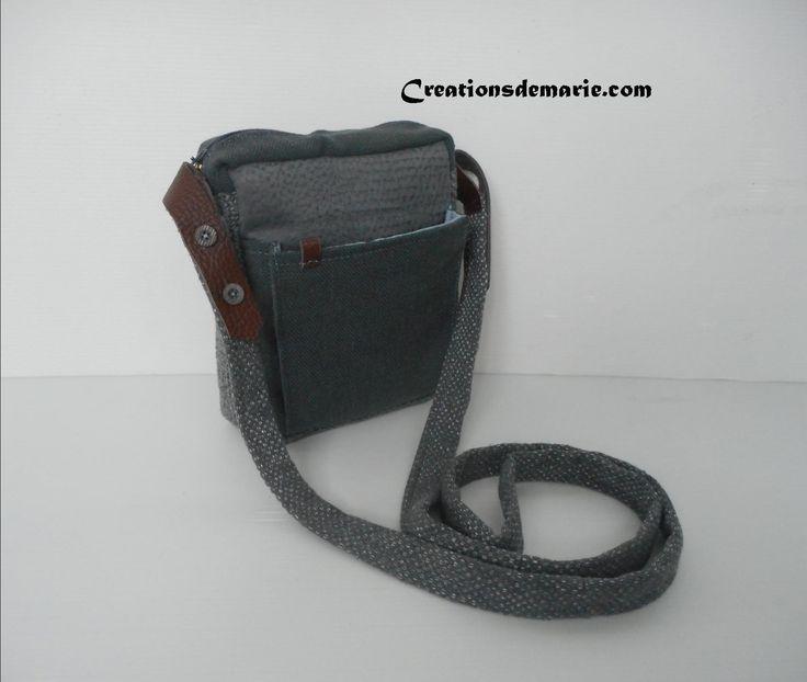 Sacoche homme, pochette bandoulière cuir et tissu gris. : Sacs à main par creationsdemarie