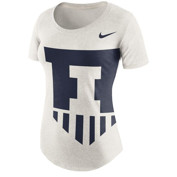 Illinois Fighting Illini Nike Women's Nameplate Boyfriend Tri-Blend T-Shirt - Cream - $35.99