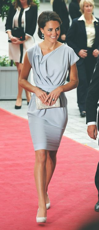 An interesting neckline and drape, takes this dress up a notch | Kate Middleton