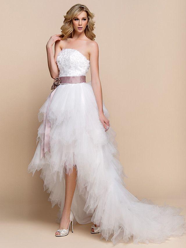 abito da sposa una linea di tulle e pizzo asimmetrica senza bretelle abito nuziale con il telaio | LightInTheBox
