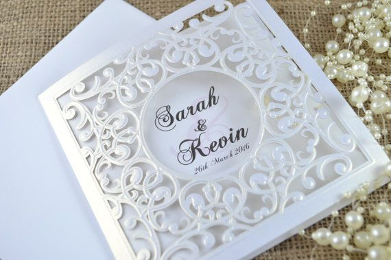 Laser Cut Wedding Invitation White Laser Cut by FoxfordAtelier