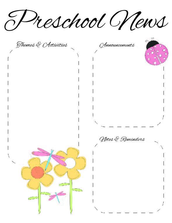 The Crafty Teacher: Preschool Spring Newsletter Template 2