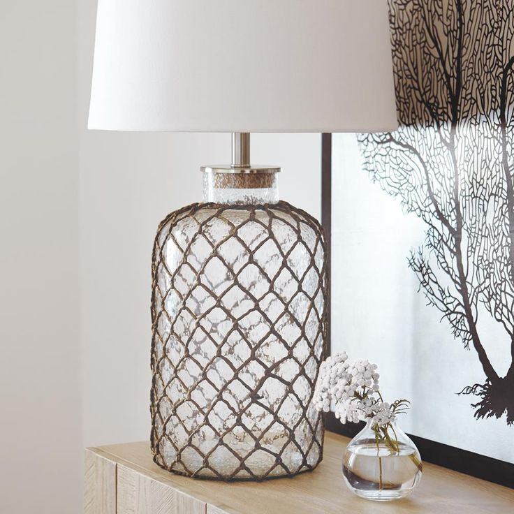 Atelier - Glass and rope table lamp/TABLE LAMPS/LIGHTING/SHOP BY PRODUCT/ATELIER BOUCLAIR|Bouclair.com