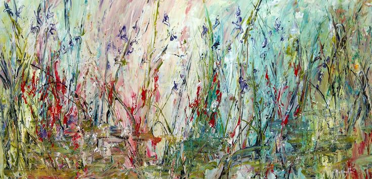 WildFlowers Along The Creek 30x60 inches is an acrylic on canvas painting by Hanna MacNaughtan, copyright 2018.