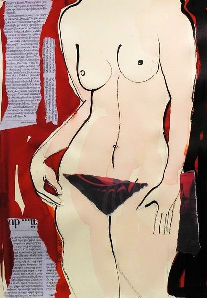 nude woman painting , modern collage , female nude, framed ,ready to hang