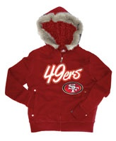 San Francisco 49ers Women's Red Brushed Fleece Faux Fur & Sherpa lined Full Zip Hoodie