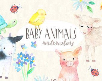 Imágenes Prediseñadas acuarela animales del bebé   Animales de granja primavera - bebé cerdo, cordero, pato, tortuga - bebé ducha, Scrapbooking - descarga Digital