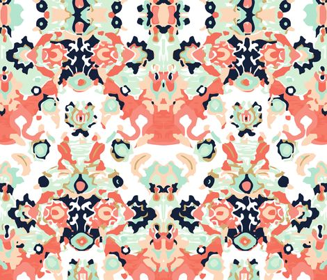 all coral jubilee // small  fabric by ivieclothco on Spoonflower - custom fabric. Wallpaper. Dining room?