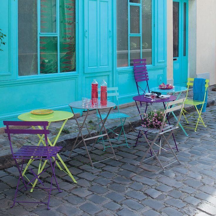 Table de jardin ronde violette pliante - Assortiment chaises et table pour le balcon