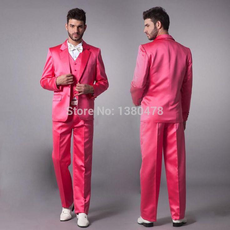 2016 Suits Hot Pink New Groom Tuxedos Satin Material Groomsmen Men Wedding Suits(Jacket+Pants+Tie+Vest)