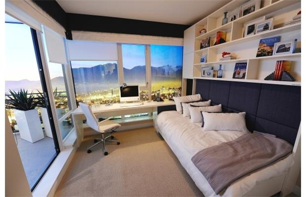 Good use of a small space: Convert offices into guest bedrooms by raising bookcases/shelves. #smallspaces #decor