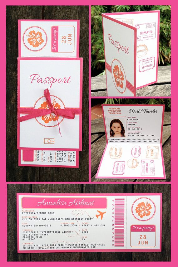 Hawaiian Luau Boarding Pass Invitation & Printable Party Collection, EDITABLE text, personalize at home with Adobe Reader - INSTANT DOWNLOAD on Etsy, $14.95