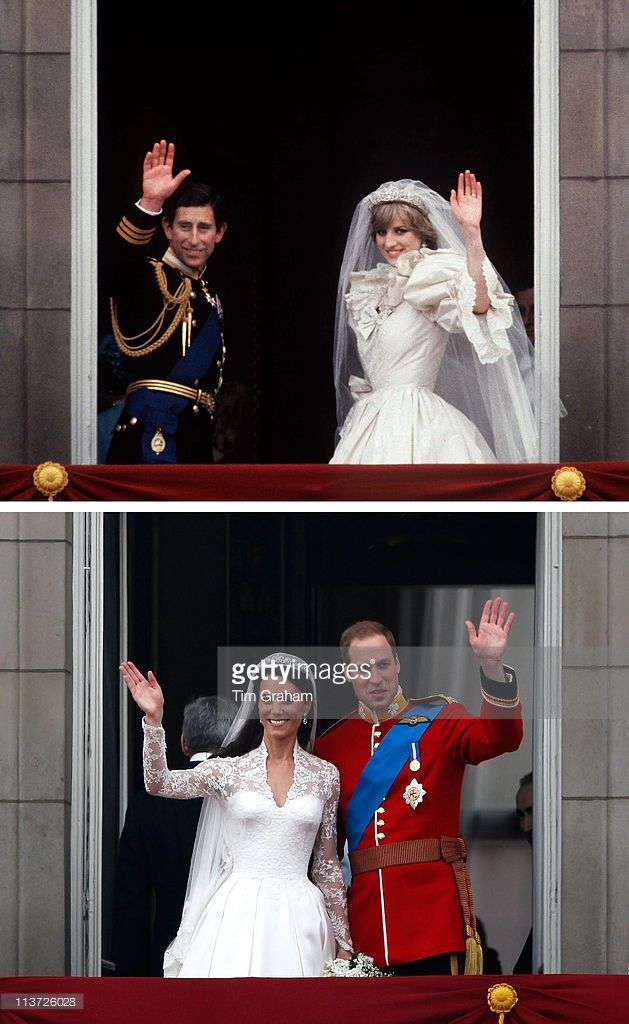 In this composite image a comparison has been made between the Royal Wedding balcony kisses of Prince Charles, Prince of Wales and Lady Diana Spencer and that of Prince William and Catherine, Duchess of Cambridge..(Top Image) LONDON, UNITED KINGDOM - JULY 29: Prince Charles And Princess Diana Waving From The Balcony Of Buckingham Palace. They Are Accompanied By Prince Philip. The Princess Is Wearing A Dress Designed By David And Elizabeth Emanuel. (Photo by Tim Graham/Getty Images)(Bottom…