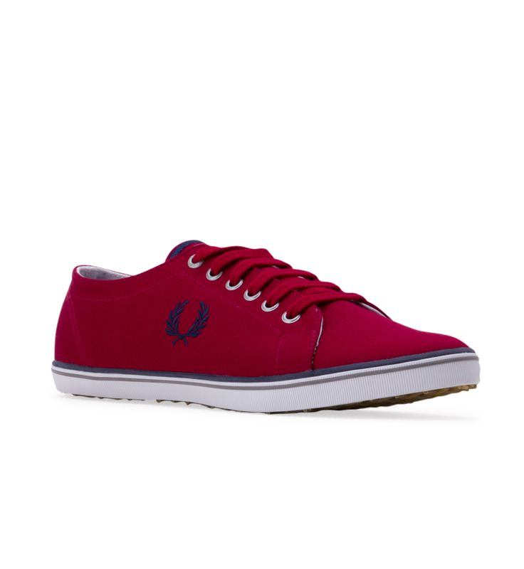 Men's FRED PERRY Kingston Twill Trainers - Red - Go into aggressive play when you win some fashion points sporting this base-lined style.