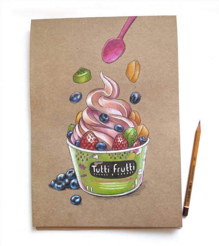 5/8 летний десерт. Замороженный йогурт с ягодами и фруктами. #lk_sketchflashmob…