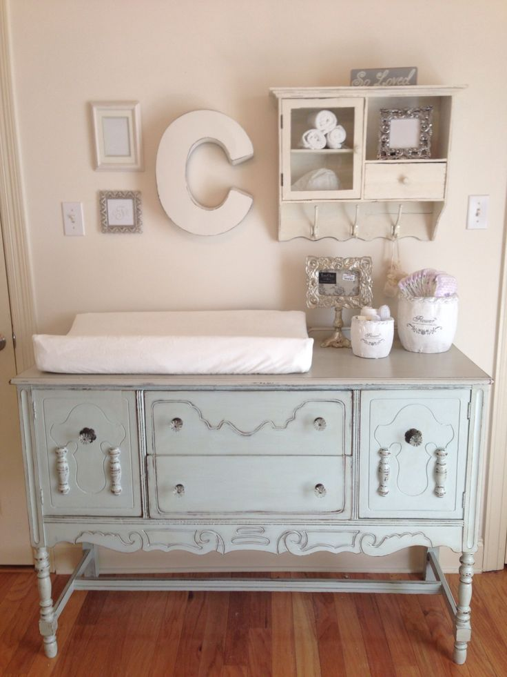 Shabby Chic Nursery - buffet converted to changing table. Katie Thompson: