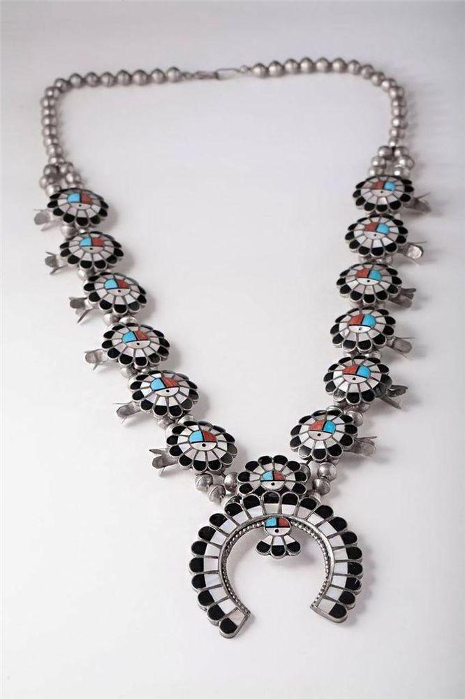 Vintage Sterling Silver Zuni Old Pawn Sunface God Squash Blossom Necklace $1,049.00