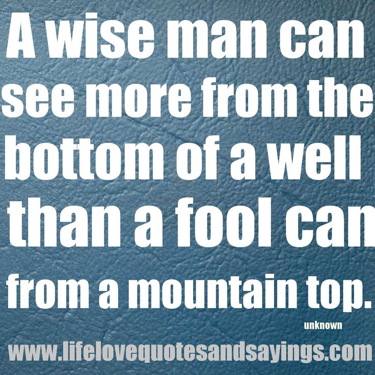 Good A Wise Man Can See More From The Bottom Of A Well Than A Fool Can From A  Mountain Top. Good Looking