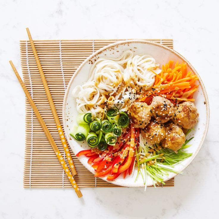 Turkey Meatballs And Udon Noodle Bowl