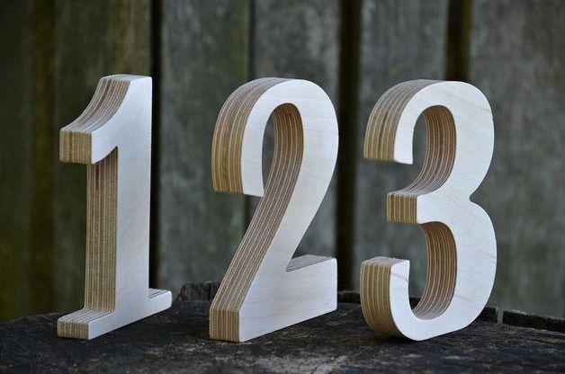 Números de madera - decoración de bodas - hecho a mano en DaWanda.es