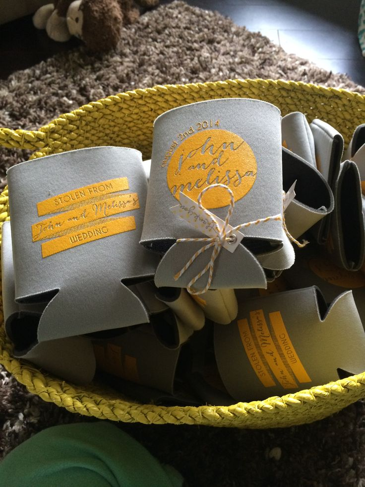 Wedding favours. Yellow and Grey wedding.
