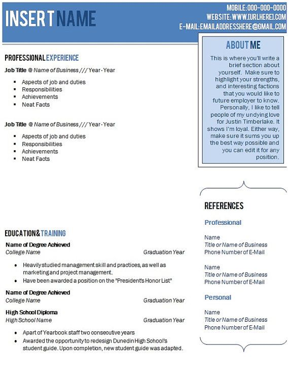beautiful blue ombre resume template with cover letter and