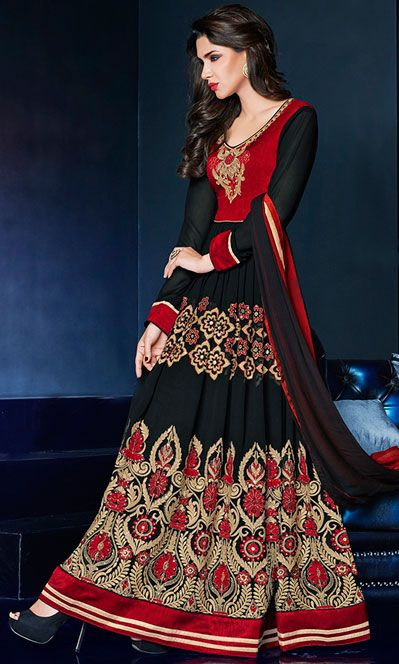 USD 68.33 Black Georgette Floor Length Anarkali Suit 42622