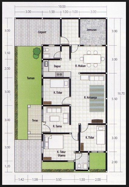 Denah Rumah 3 Kamar Ukuran 6x12 Terbaik dan Terbaru  Desain rumah minimalis  House design