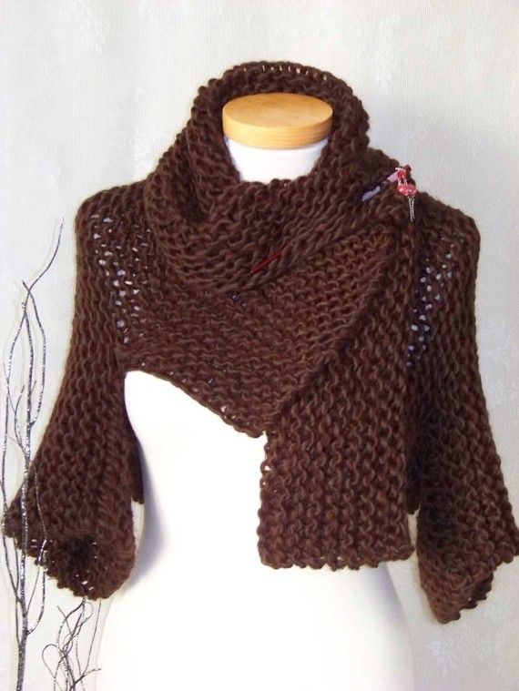 Knitting pattern, Brown shrug with big collar, PDF