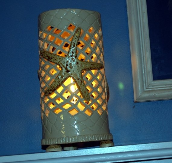 Starfish Luminary Candle Holder Hurricane Lamp Clay