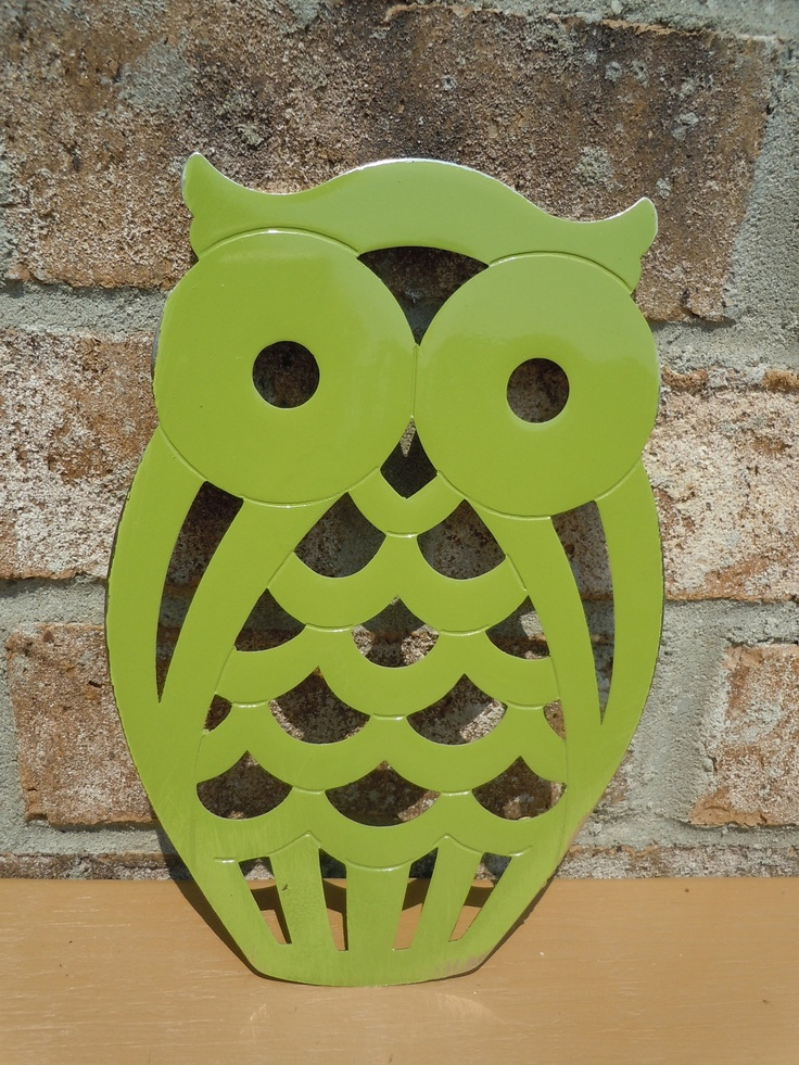 Upcycled metal owl trivet olive green kitchen decor bright Owl kitchen accessories