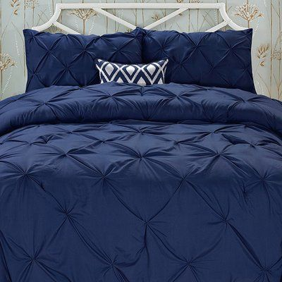 House of Hampton Nyla 3 Piece Comforter Set Color: Navy Blue, Size: King