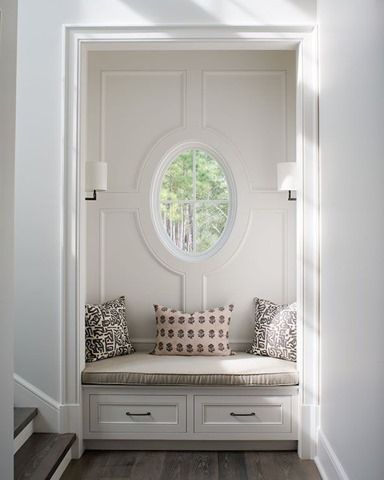 built-in seat in an entry nook