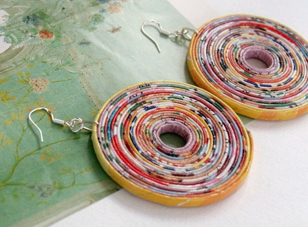 upcycled paper earrings...by BluReco on Flicker