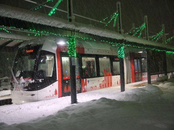 Toyama Light Rail of Happy Christmas version at Toyama-kita station.