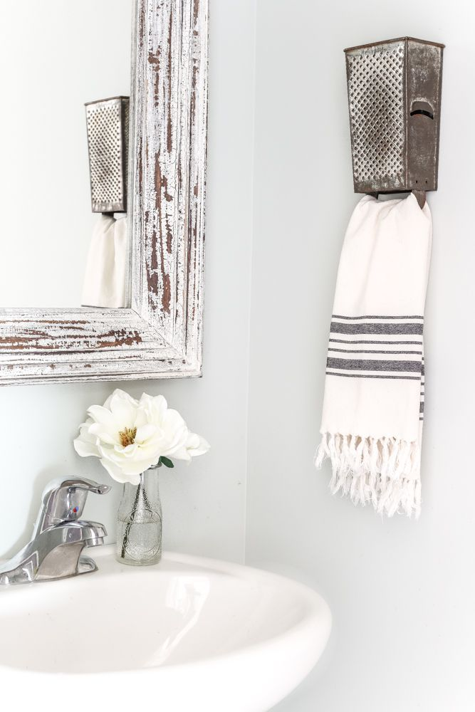 Antique Box Grater Towel Rack + A Touch of Farmhouse Charm | blesserhouse.com - A repurposed antique box grater towel rack plus more DIY project ideas for a farmhouse style home from the book A Touch of Farmhouse Charm.