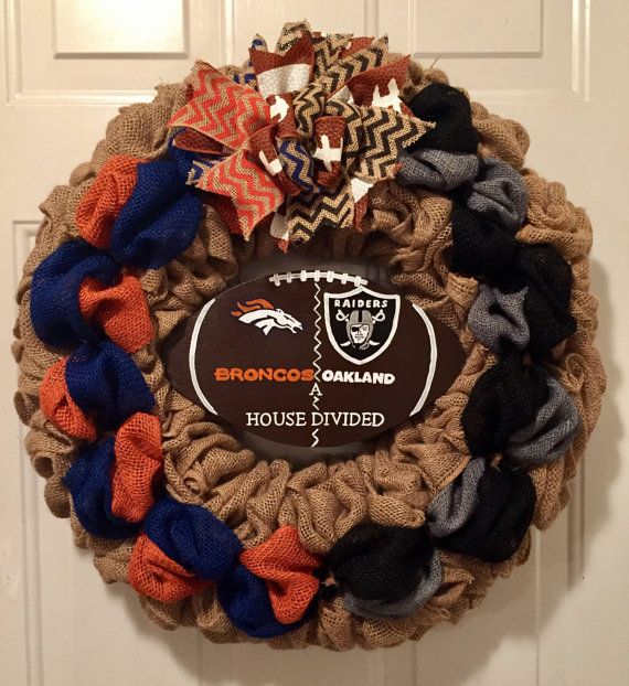 A house divided wreath Denver Broncos wreath by WandNDesigns
