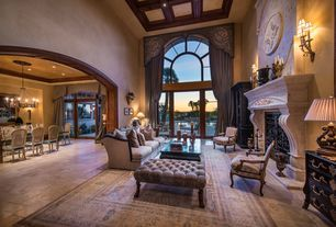 Mediterranean Living Room with metal fireplace, High ceiling, Box ceiling, Wall sconce, Carpet, limestone tile floors