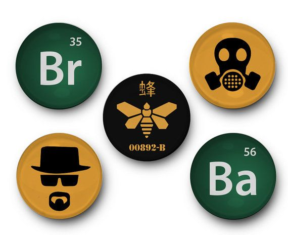 Breaking Bad - Set of 5 Glass Magnets - walter white, jesse pinkman, crystal meth, chemical, drugs, cook, saul goodman, AMC, the cook, meth