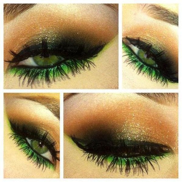 St. Patricks Day makeup - add green on bottom only