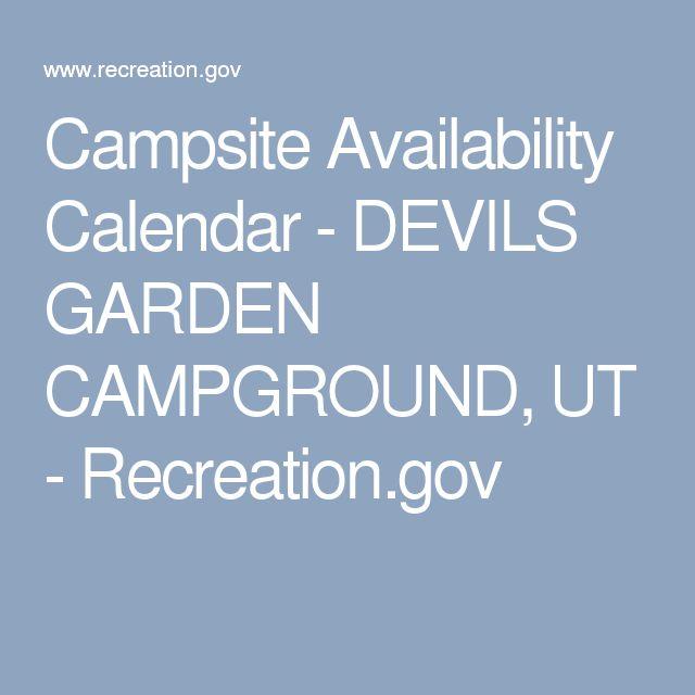 Campsite Availability Calendar - DEVILS GARDEN CAMPGROUND, UT - Recreation.gov