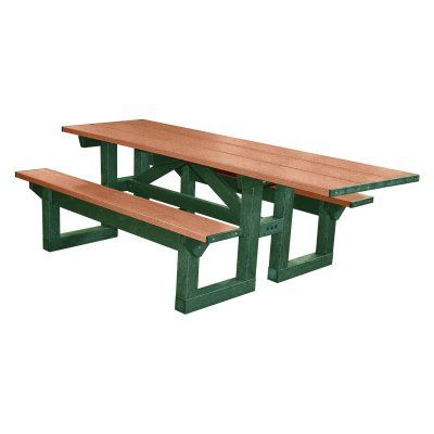 Outdoor Polly Products Polly Tuff 8 ft. Step Thru Recycled Plastic Picnic Table - Single ADA Entry Brown Sand - ASM-PTSTHA-BRN-SAND