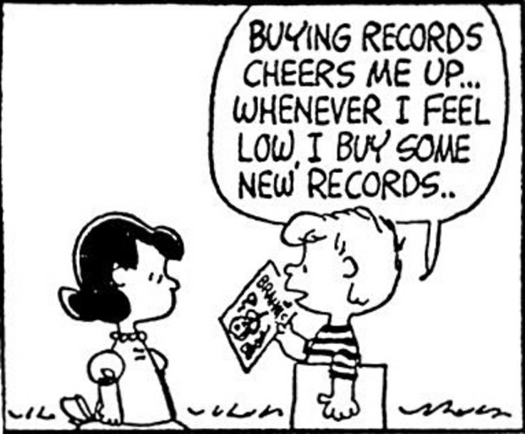 """April 08, 1963  - Schroeder on vinyl records """"Buying records cheers me up...whenever I feel low, I buy some records. #PEANUTS"""
