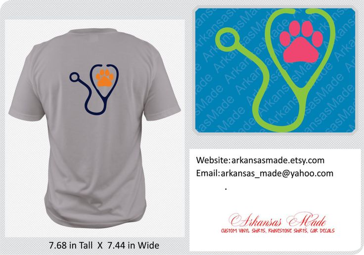 Veterinary stethoscope with paw shirt, paw shirt, available in multiple colors - pinned by pin4etsy.com