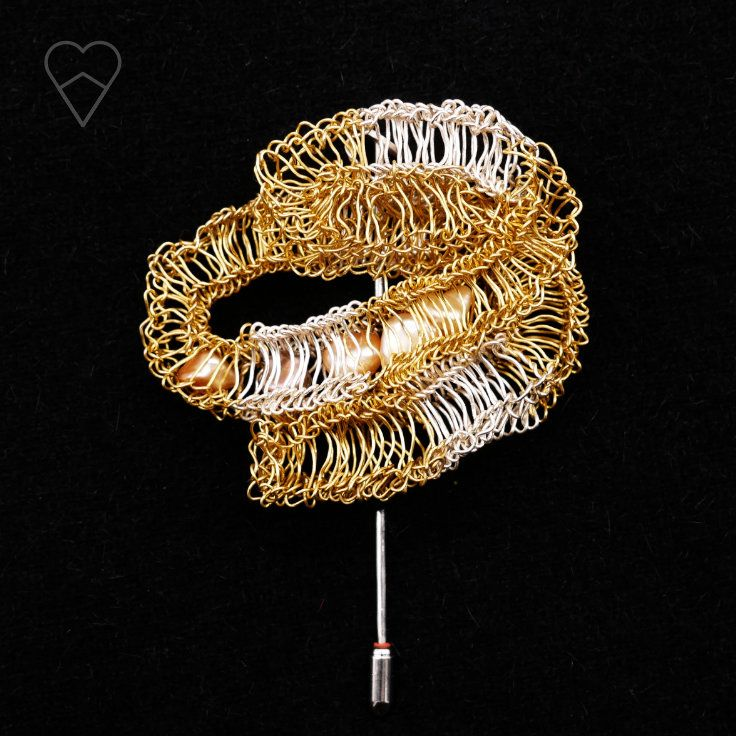 Snake skin with pearls, pin. Knitted silver and brass, baroque pearls.